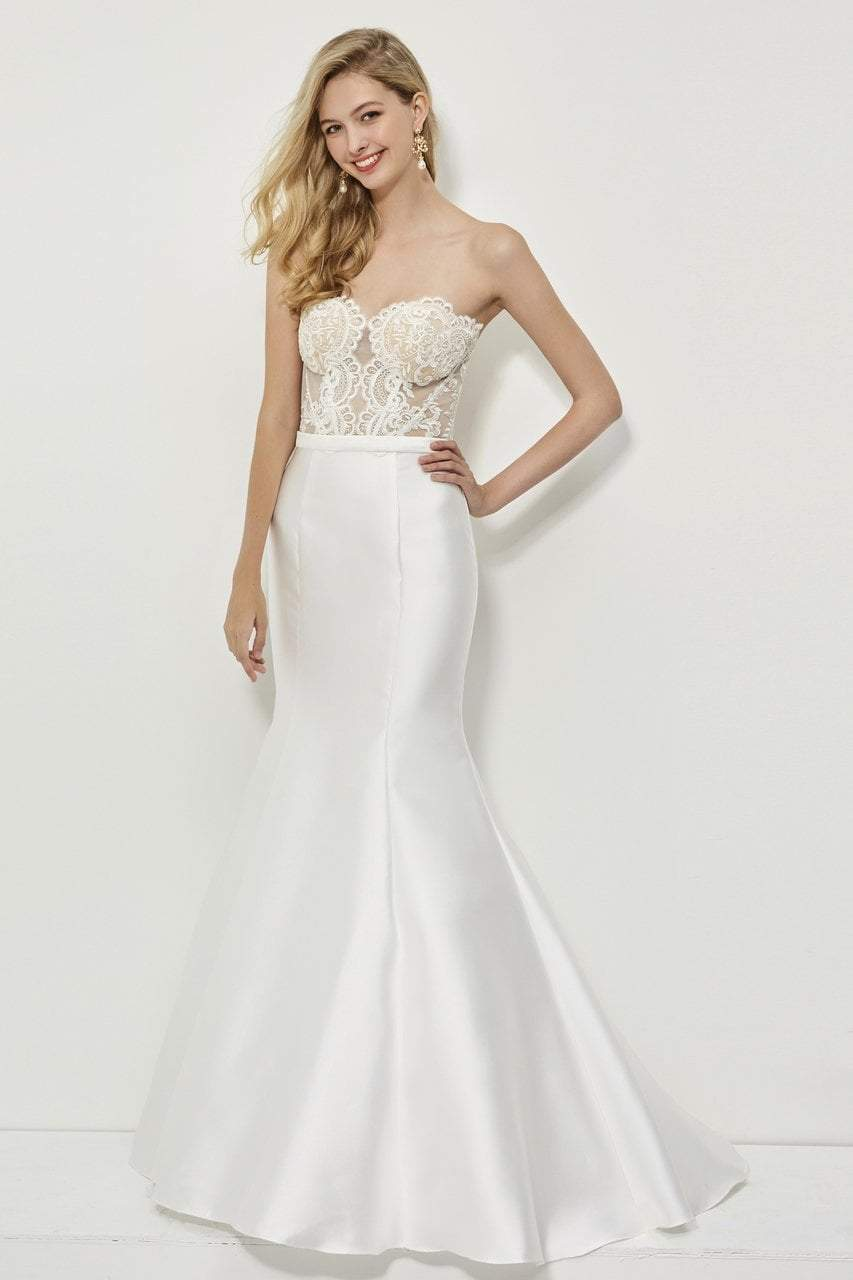 Angela and Alison - 81028 Sheer Strapless Mermaid Gown In White