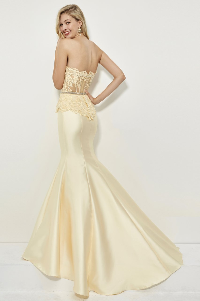 Angela and Alison - 81028 Sheer Strapless Mermaid Gown In Yellow