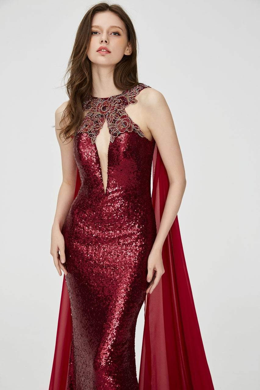 Angela and Alison - 81029 Embellished Fitted Cape Evening Gown In Red