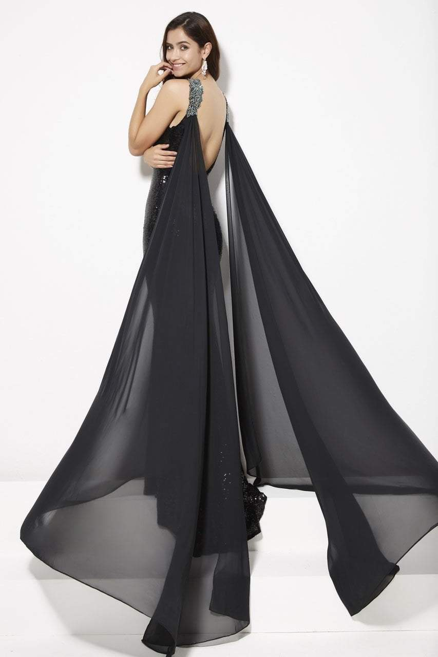 Angela and Alison - 81029 Embellished Fitted Cape Evening Gown In Black