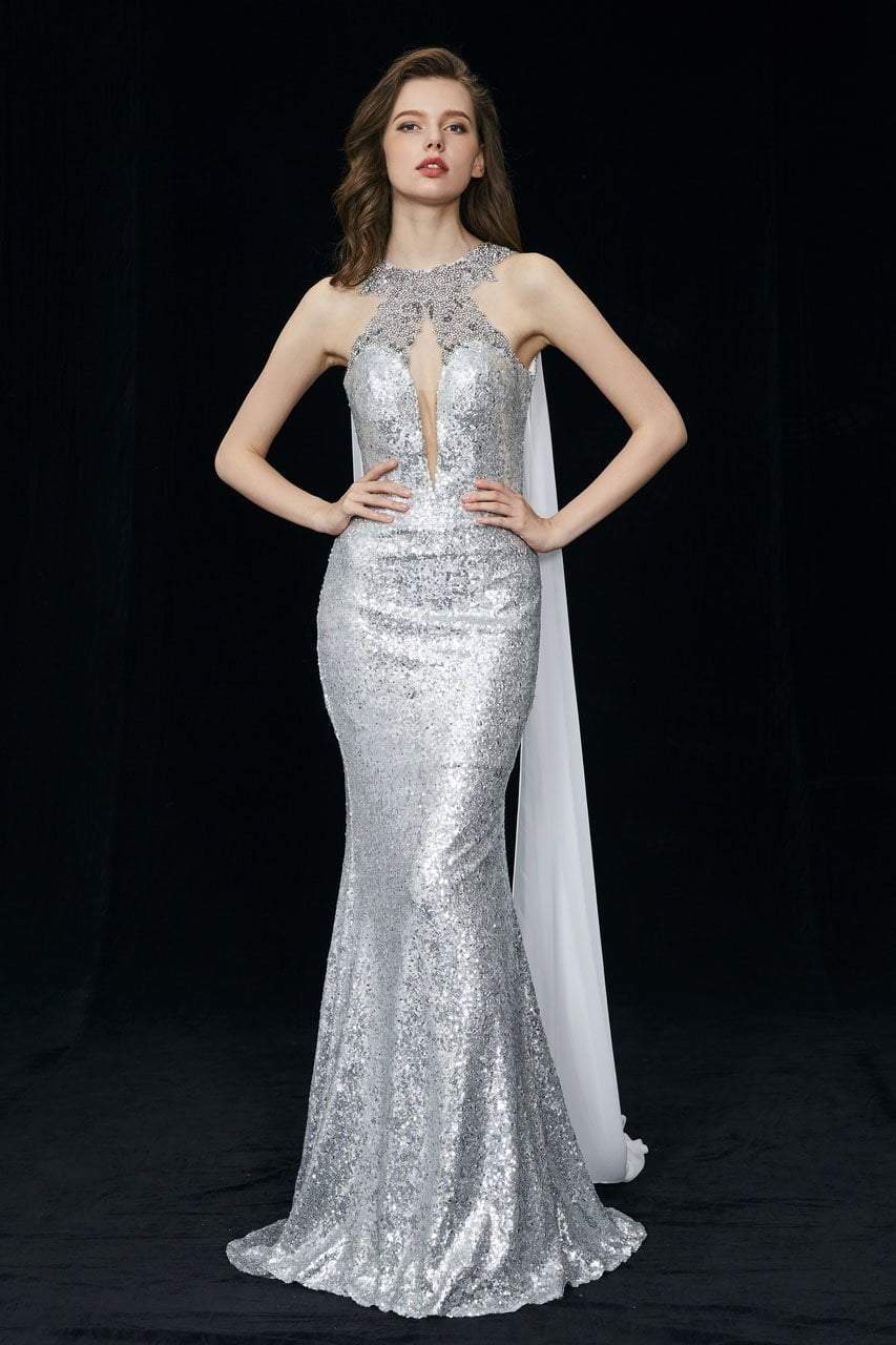 Angela and Alison - 81029 Embellished Fitted Cape Evening Gown In Silver