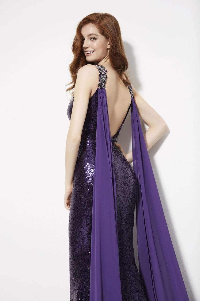 Angela and Alison - 81029 Embellished Fitted Cape Evening Gown In Purple
