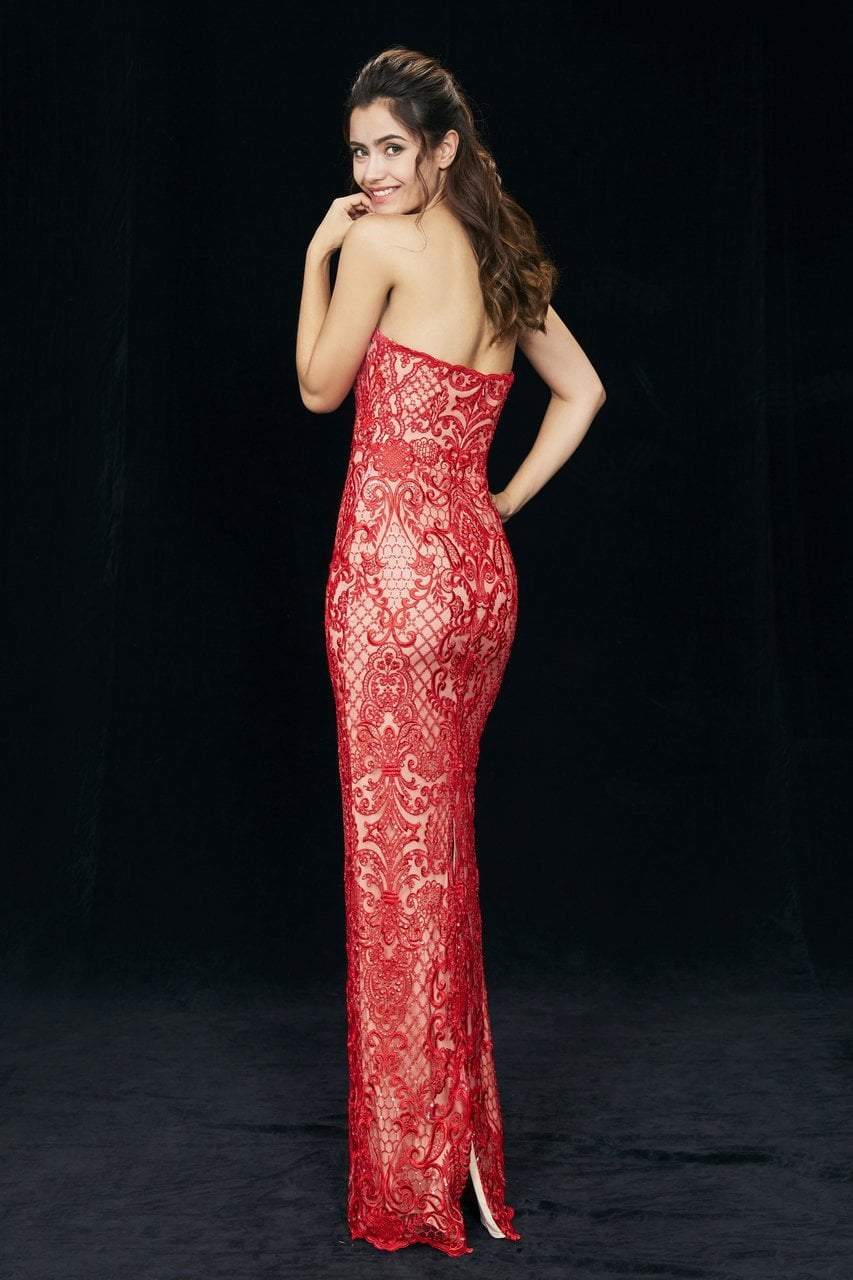 Angela and Alison - 81031 Sequined Embroidered Strapless Dress In Red