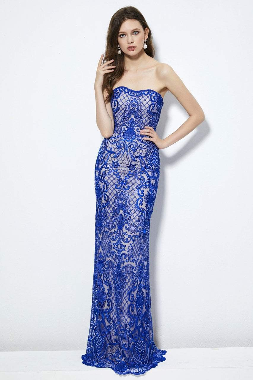 Angela and Alison - 81031 Sequined Embroidered Strapless Dress In Blue