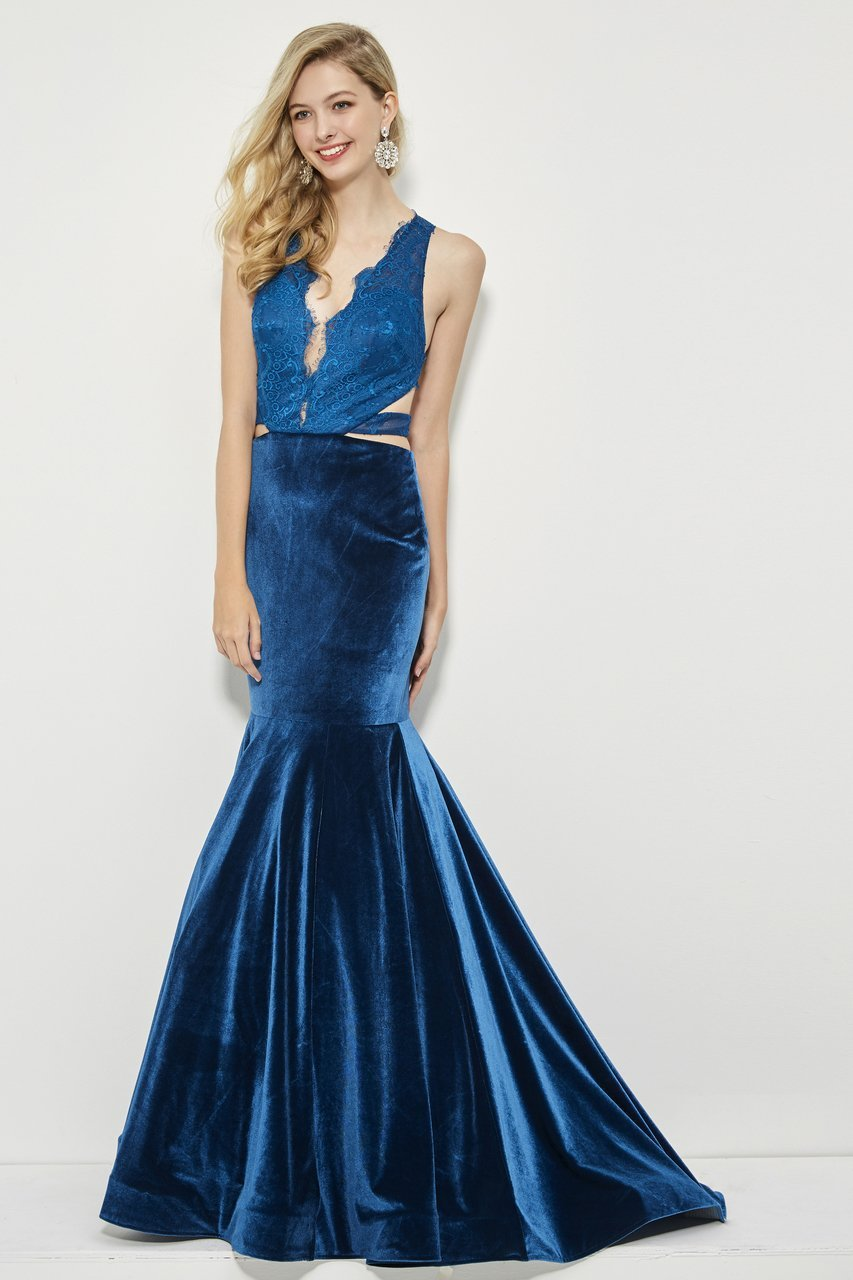 Angela and Alison - 81036 Strappy Lace Fitted Trumpet Dress In Blue
