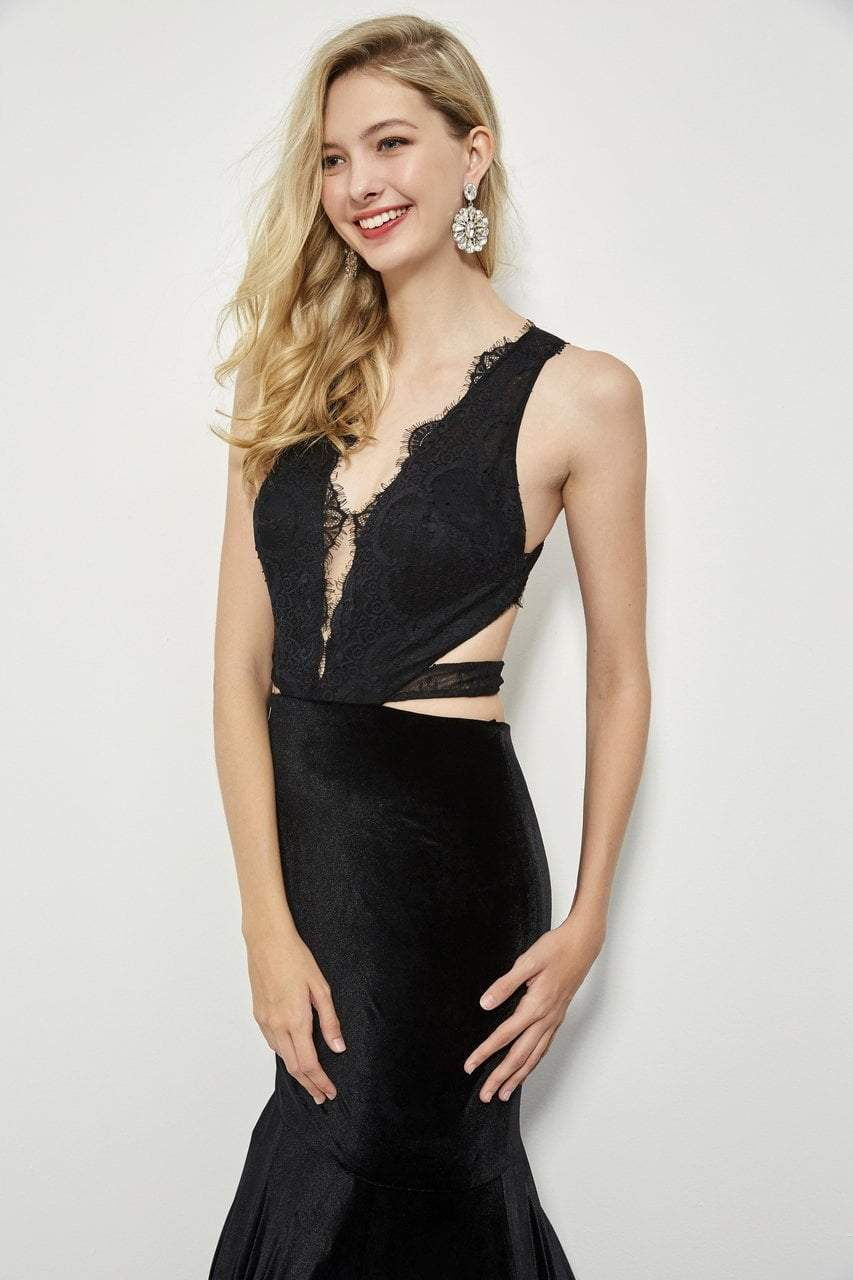 Angela and Alison - 81036 Strappy Lace Fitted Trumpet Dress In Black