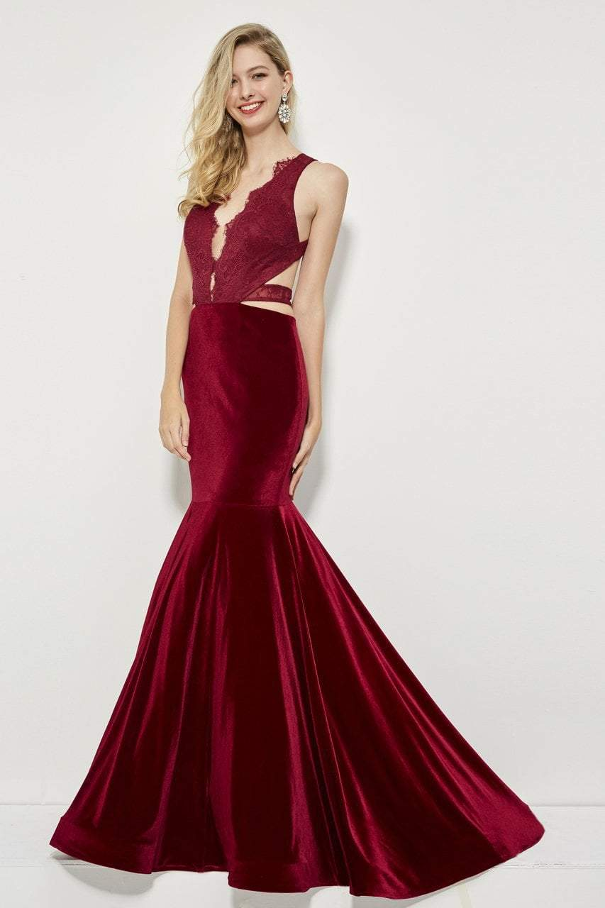 Angela and Alison - 81036 Strappy Lace Fitted Trumpet Dress In Red