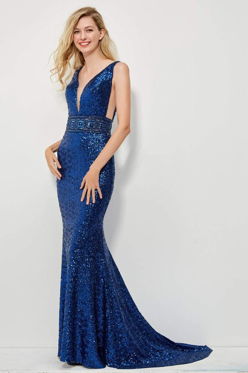 Angela and Alison - 81039 Sequined Fitted Evening Dress In Blue