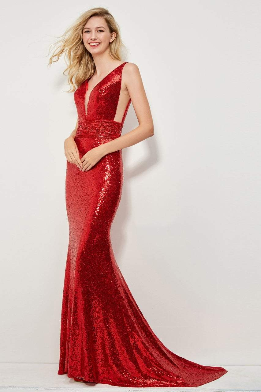 Angela and Alison - 81039 Sequined Fitted Evening Dress In Red