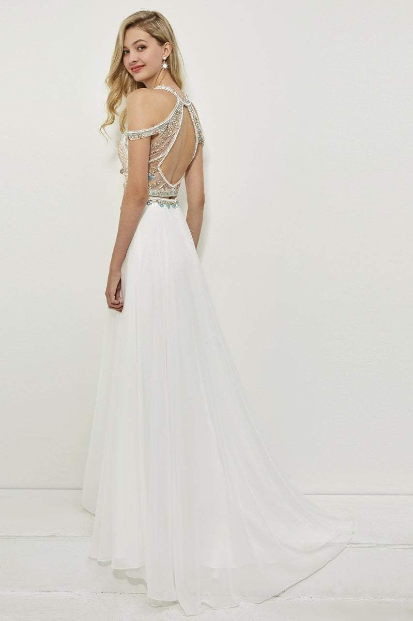Angela and Alison - 81043 Two Piece Embellished Halter Gown In White