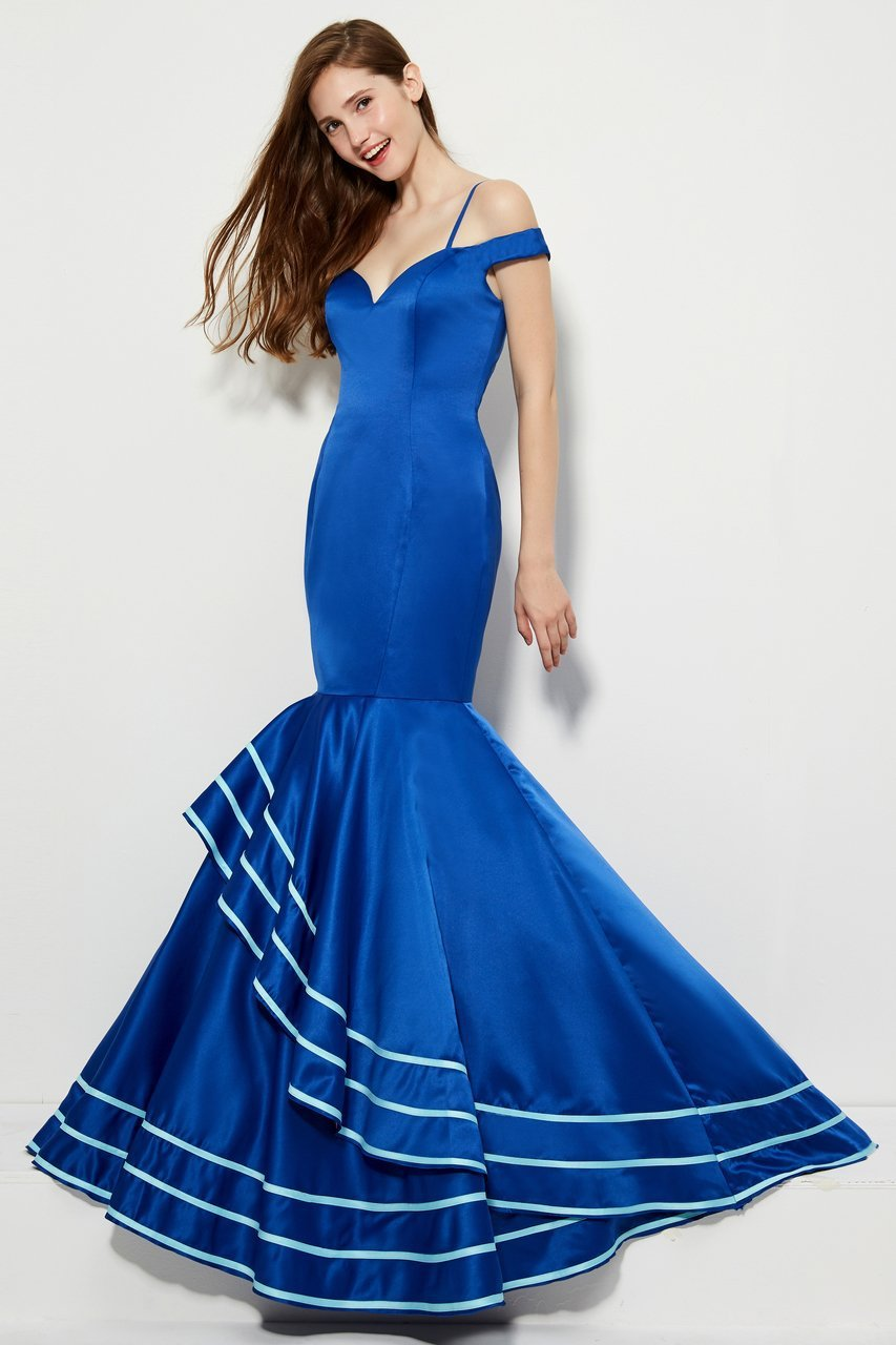 Angela and Alison - 81049 Sweetheart Cold Off-Shoulder Mermaid Dress In Blue