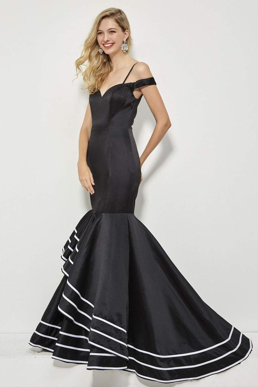 Angela and Alison - 81049 Sweetheart Cold Off-Shoulder Mermaid Dress In Black