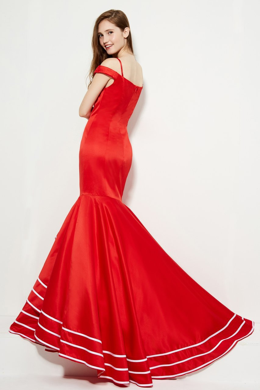 Angela and Alison - 81049 Sweetheart Cold Off-Shoulder Mermaid Dress In Red