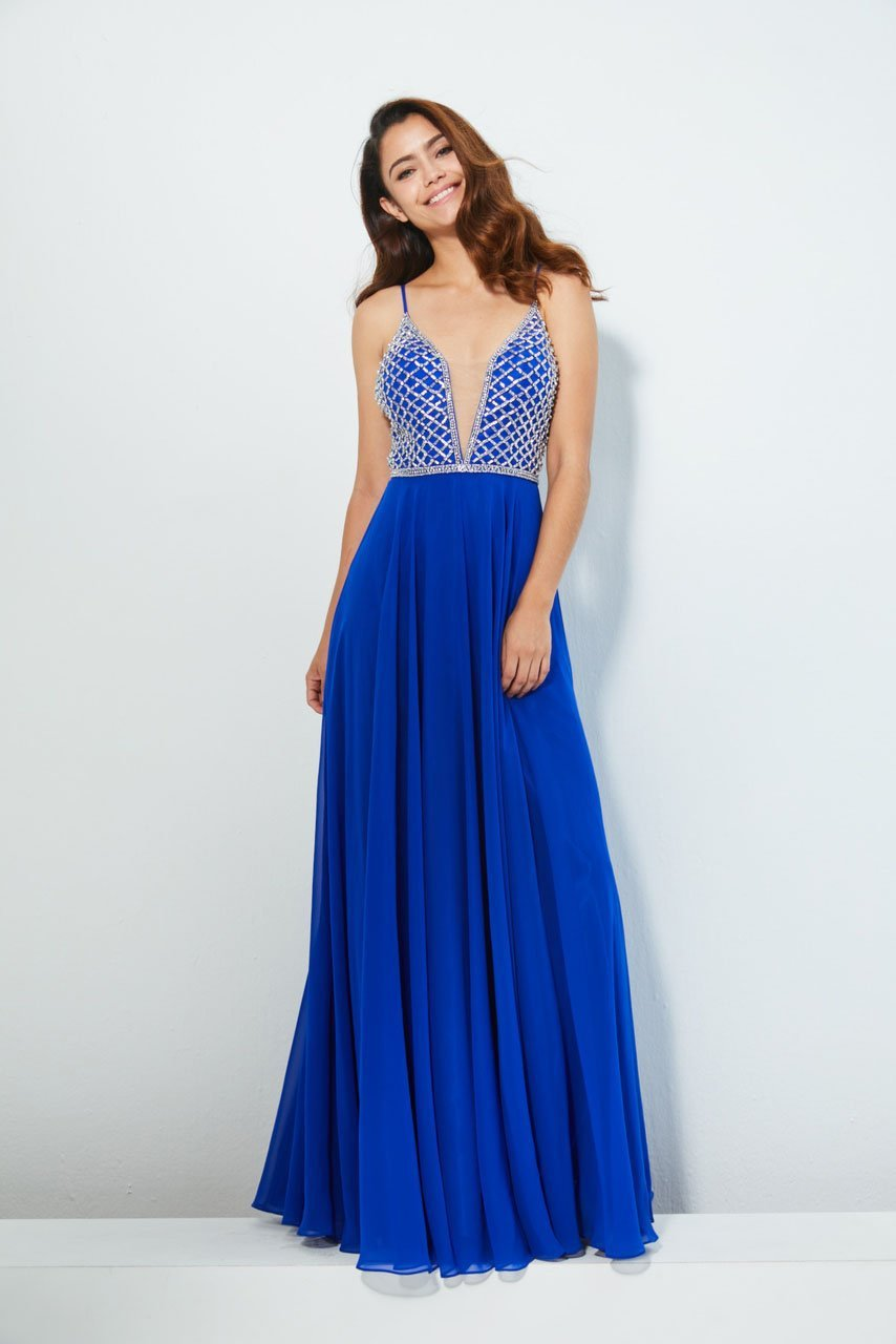 Angela and Alison - 81053 Bedazzled Deep V-neck A-line Dress In Blue