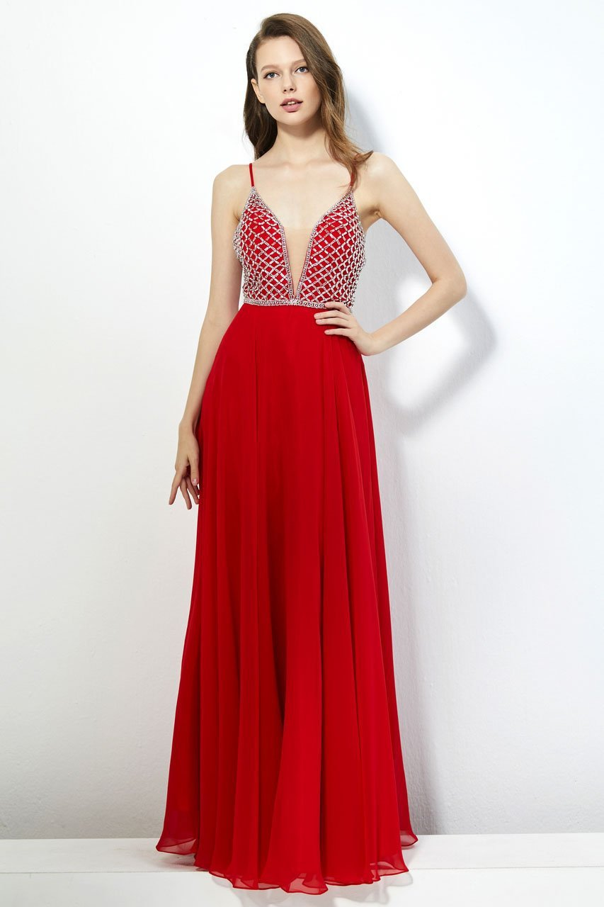 Angela and Alison - 81053 Bedazzled Deep V-neck A-line Dress In Red