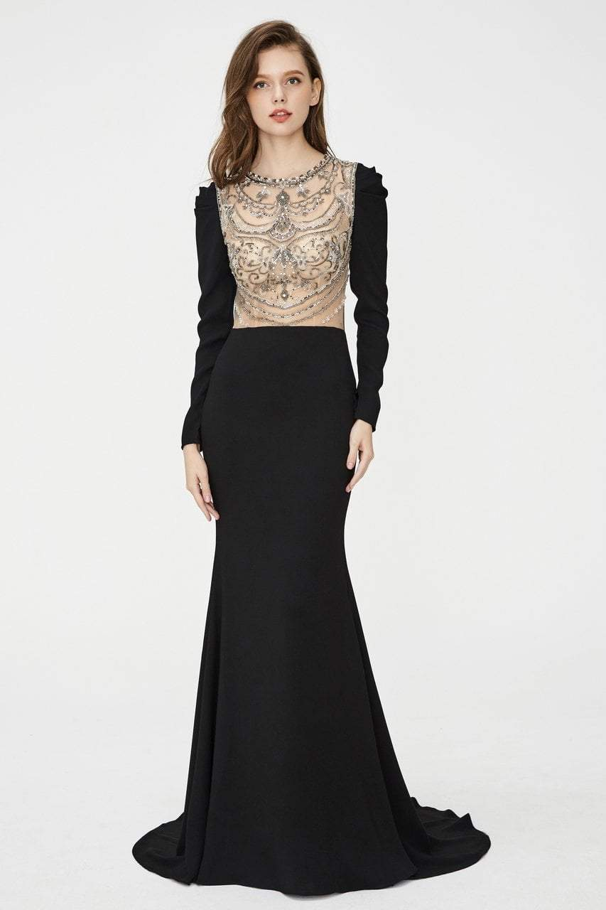 Angela and Alison - 81056 Embellished Jewel Trumpet Dress In Black