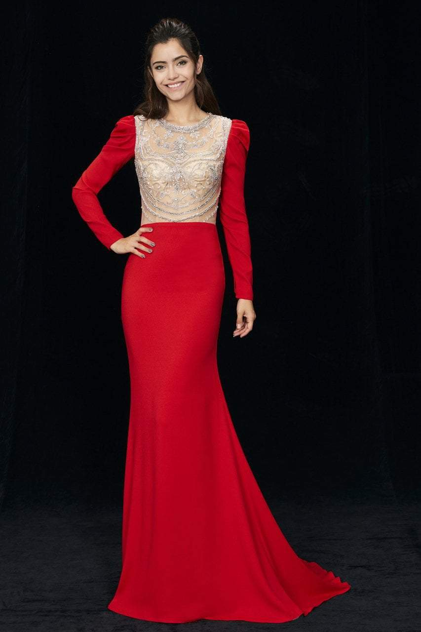 Angela and Alison - 81056 Embellished Jewel Trumpet Dress In Red