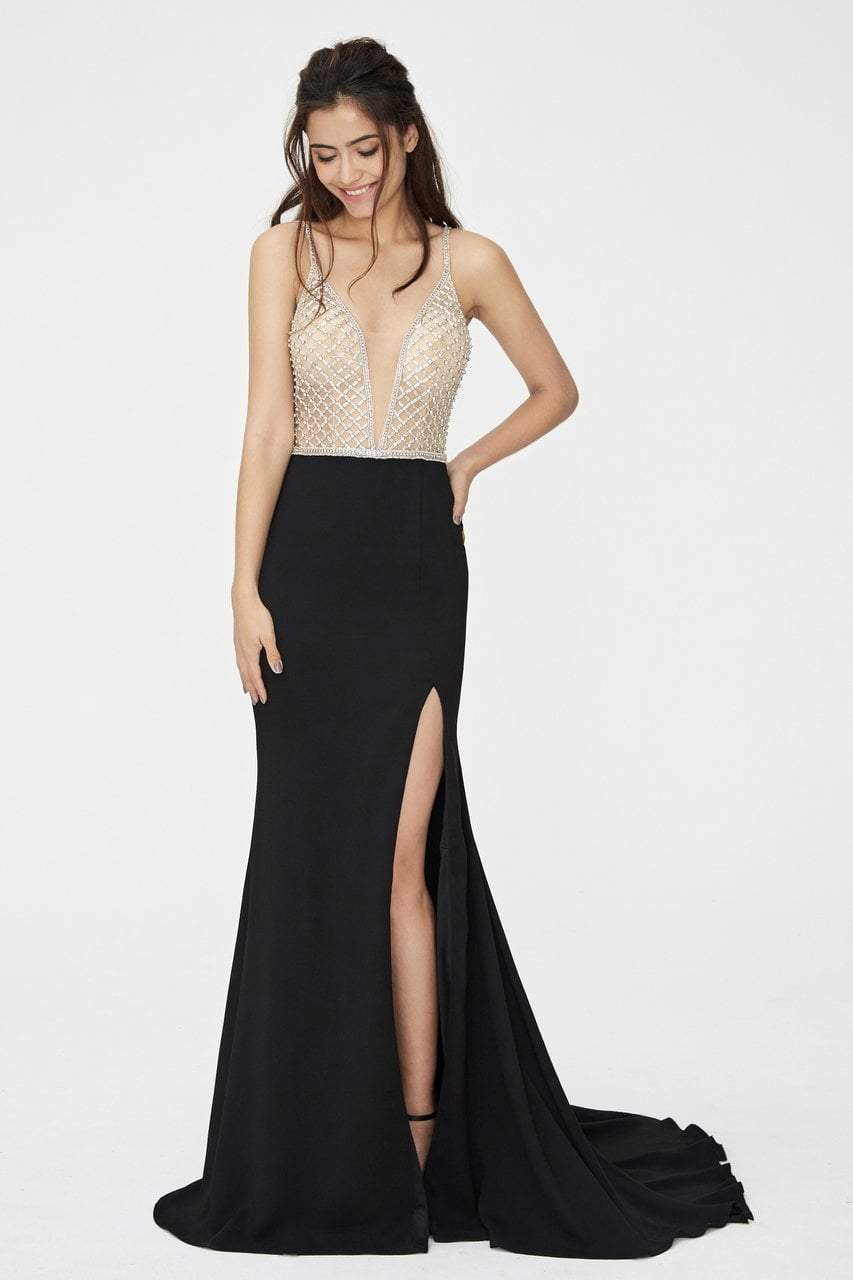 Angela and Alison - 81060 Bejeweled Deep V-neck Sheath Dress In Black