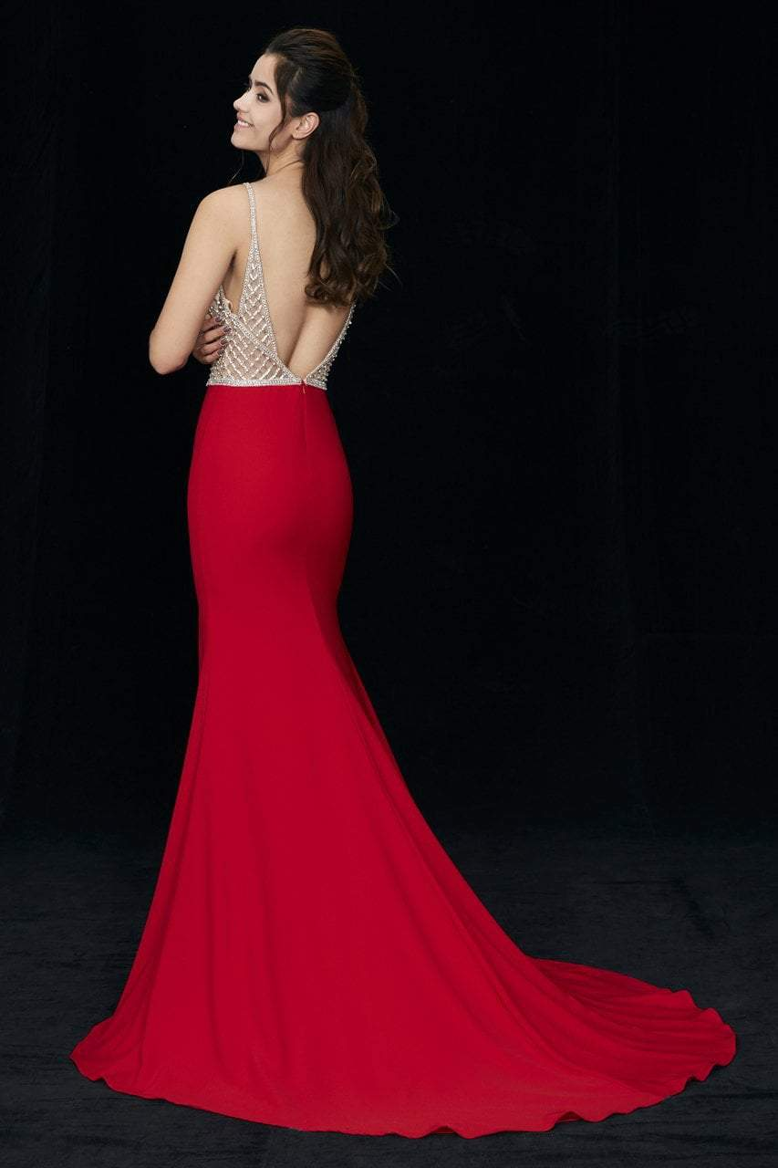 Angela and Alison - 81060 Bejeweled Deep V-neck Sheath Dress In Red