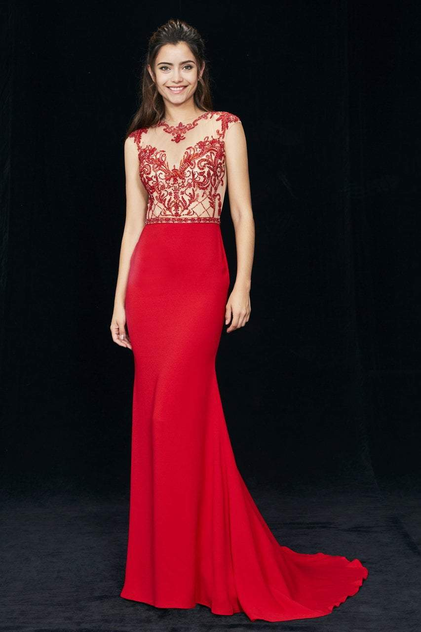 Angela and Alison - 81076 Embellished Illusion Jewel Trumpet Dress In Red