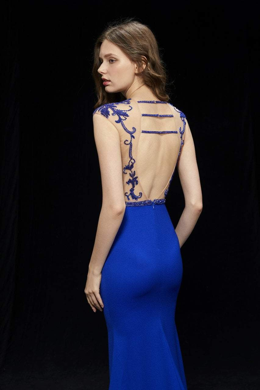 Angela and Alison - 81076 Embellished Illusion Jewel Trumpet Dress In Blue