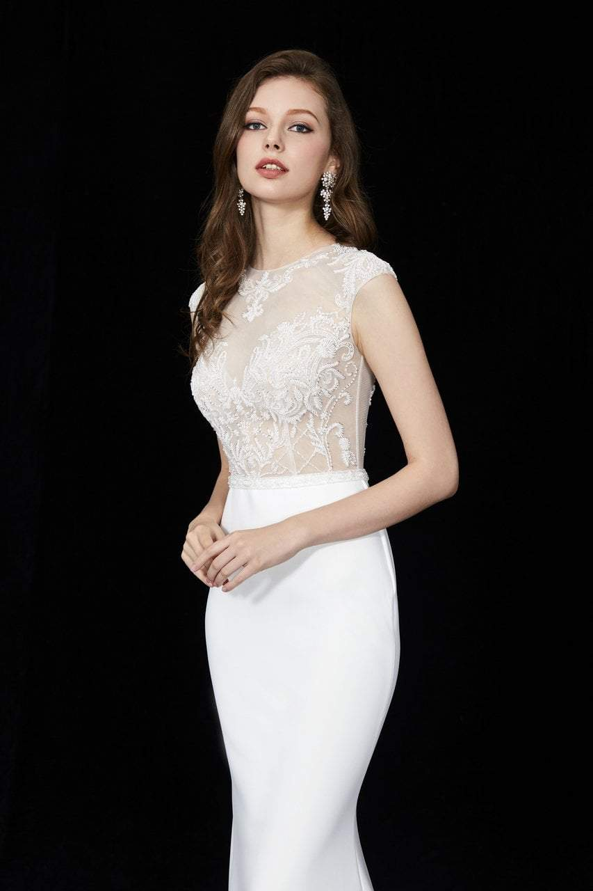 Angela and Alison - 81076 Embellished Illusion Jewel Trumpet Dress In White
