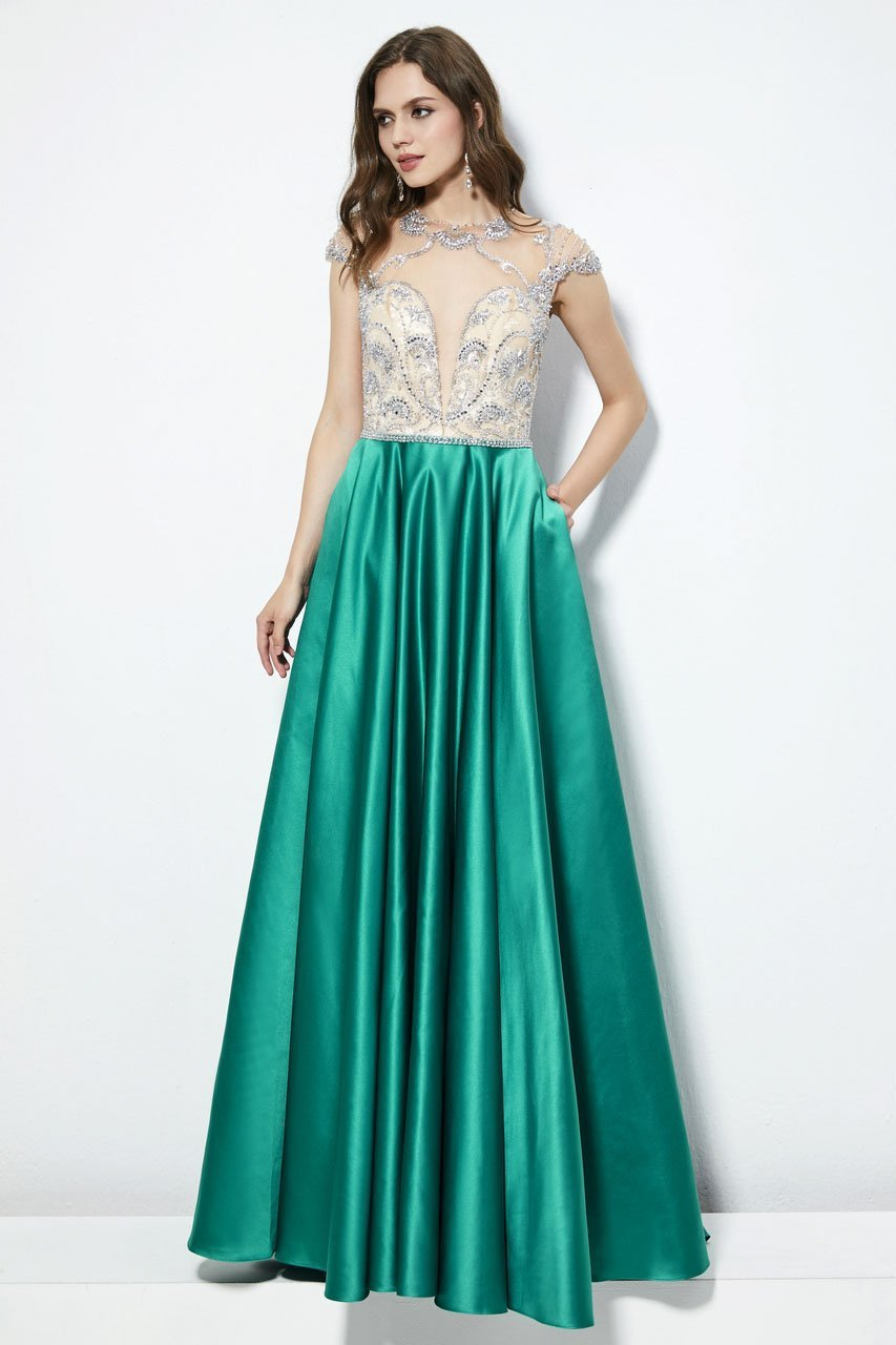 Angela and Alison - 81083 Bejeweled Illusion Jewel A-line Dress In Green