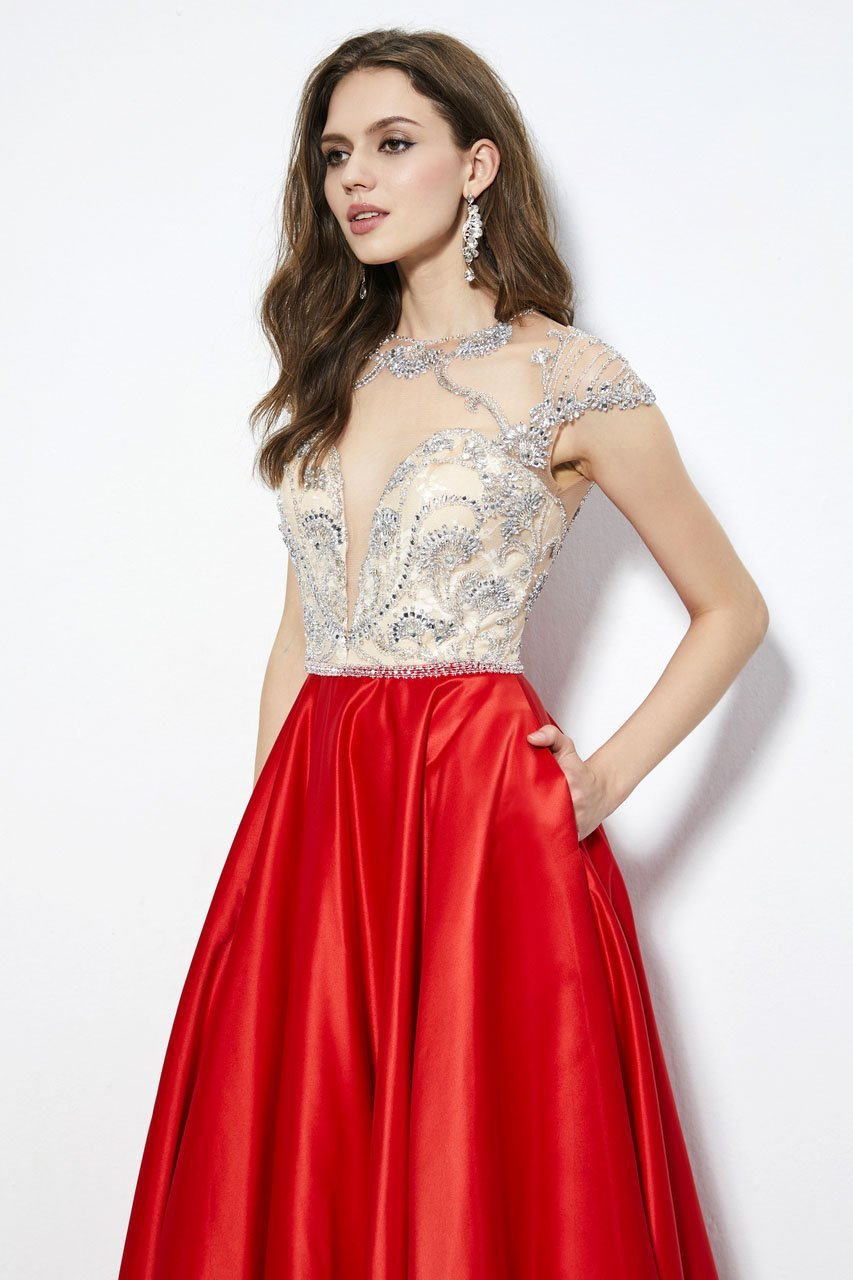 Angela and Alison - 81083 Bejeweled Illusion Jewel A-line Dress In Red