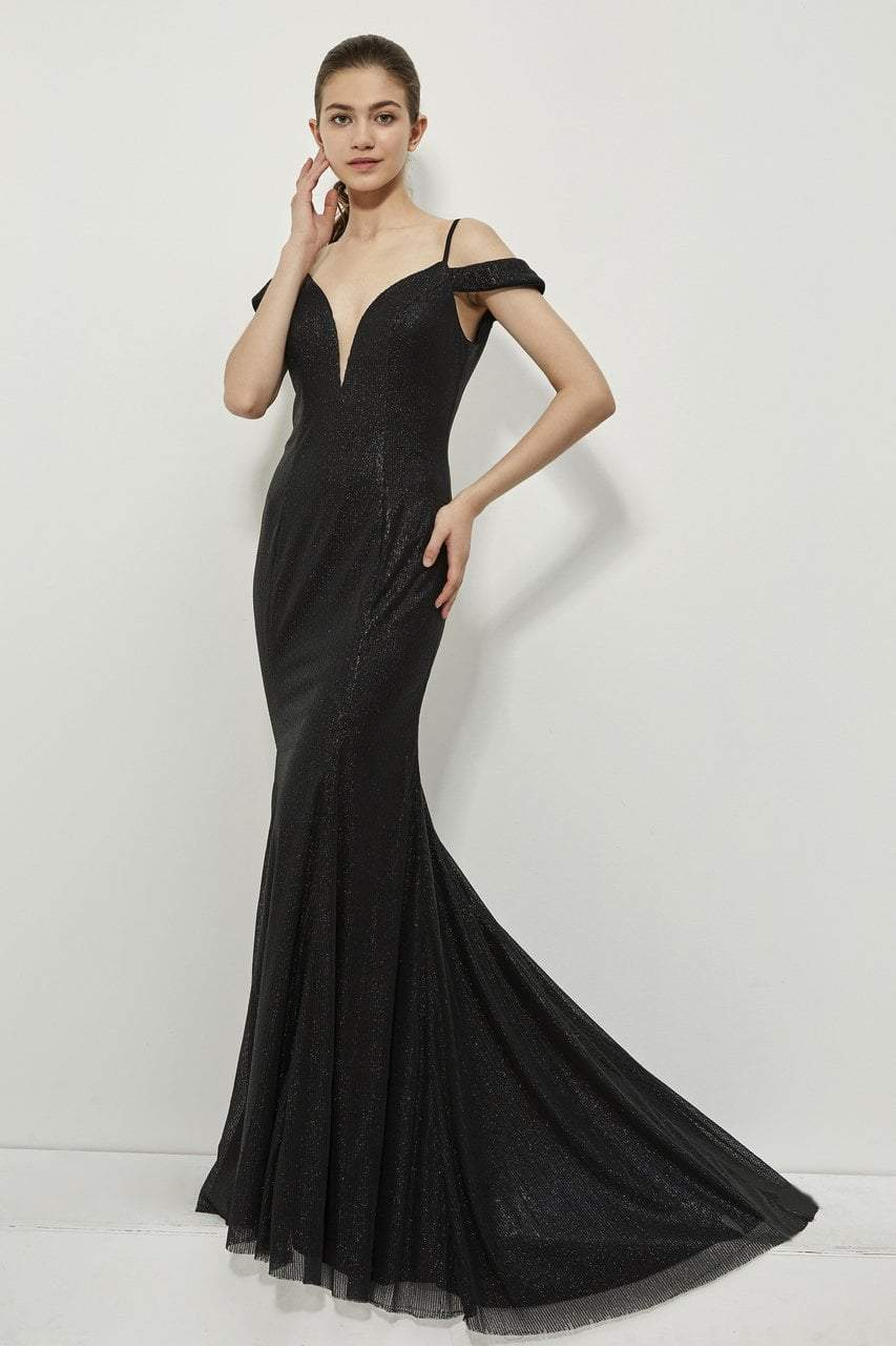 Angela and Alison - 81084 Sequin Deep V-neck Sheath Dress In Black