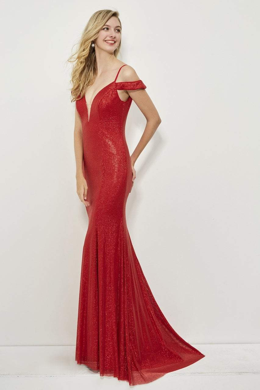 Angela and Alison - 81084 Sequin Deep V-neck Sheath Dress In Red