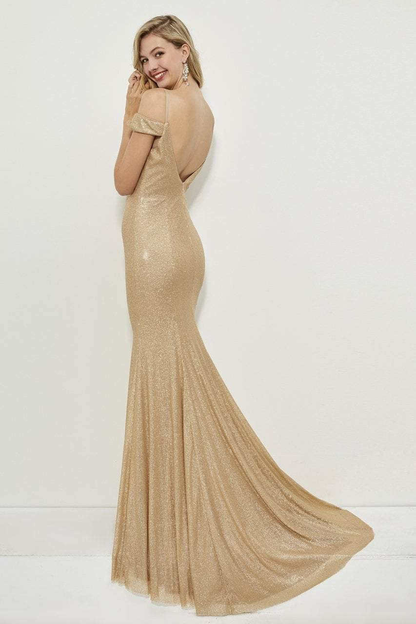 Angela and Alison - 81084 Sequin Deep V-neck Sheath Dress In Gold