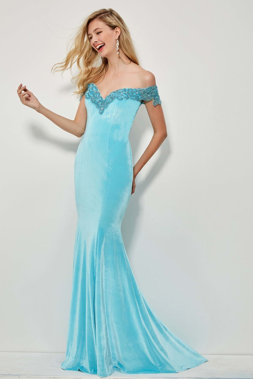 Angela and Alison - 81085 Beaded Off-Shoulder Velvet Mermaid Dress In Blue