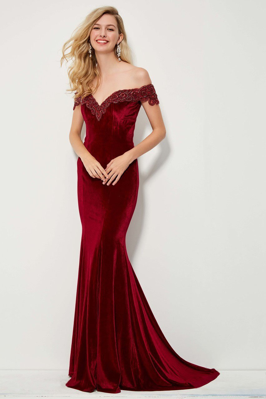 Angela and Alison - 81085 Beaded Off-Shoulder Velvet Mermaid Dress In Red