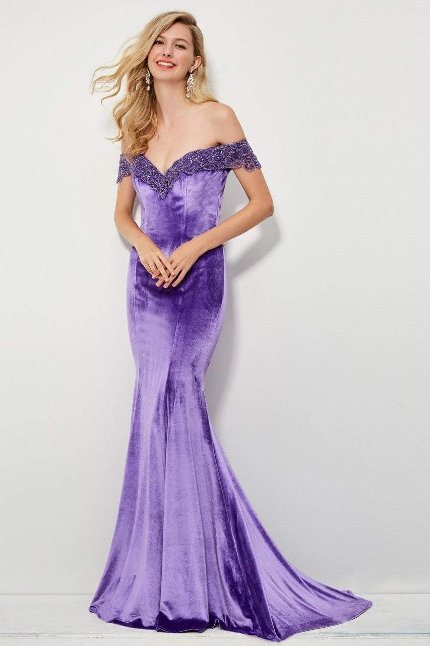 Angela and Alison - 81085 Beaded Off-Shoulder Velvet Mermaid Dress In Purple