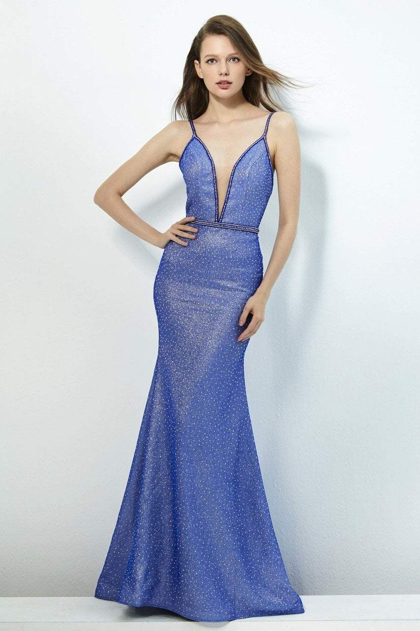 Angela and Alison - 81086 Embellished Deep V-neck Trumpet Dress In Blue