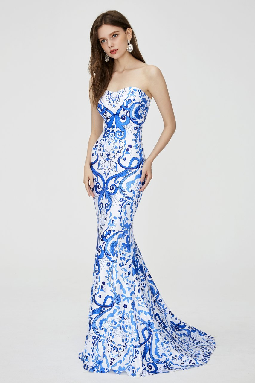 Angela and Alison - 81111 Strapless Printed Sweetheart Mermaid Dress In Blue and Print