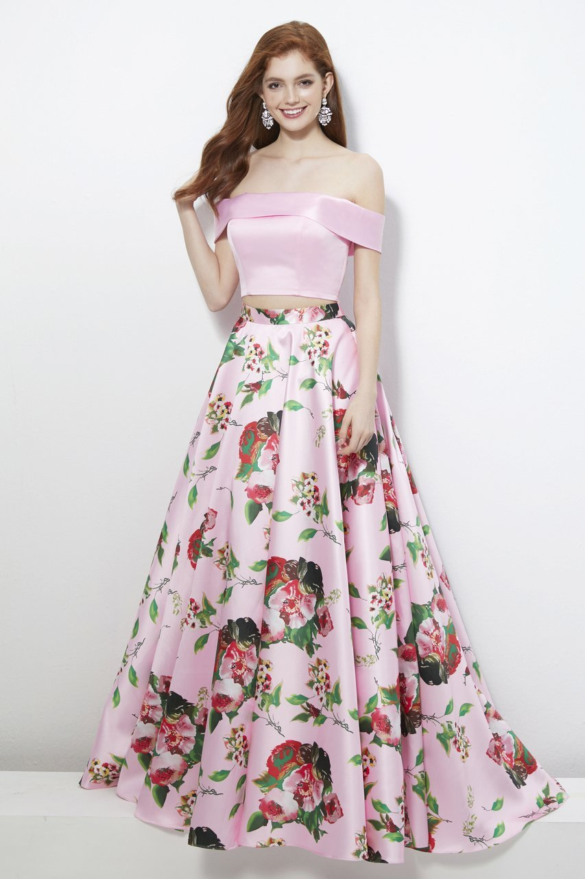 Angela and Alison - 81120 Two Piece Floral Printed Ballgown In Pink and Floral