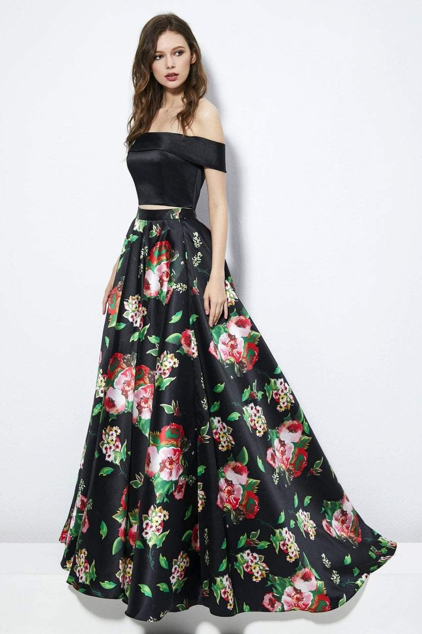 Angela and Alison - 81120 Two Piece Floral Printed Ballgown In Black and Floral
