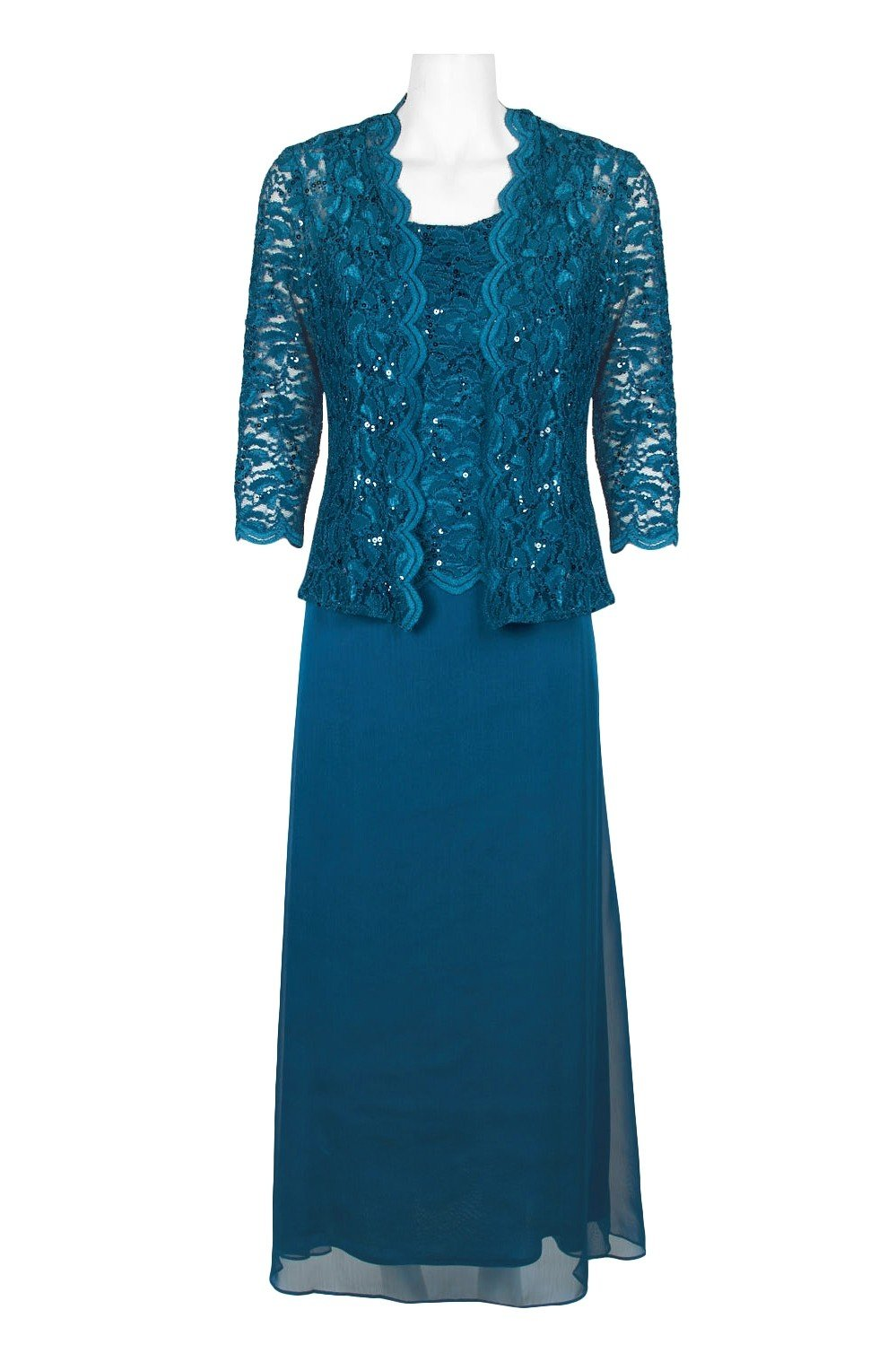 Alex Evenings - 81122131 Two-Piece Sequined Lace Dress with Jacket In Blue