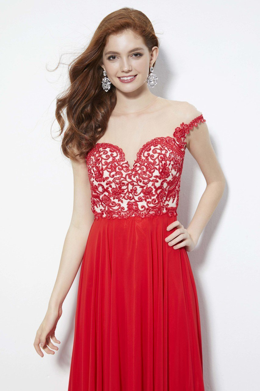 Angela and Alison - 81124 Bead Embroidered Illusion Jewel A-line Dress In Red