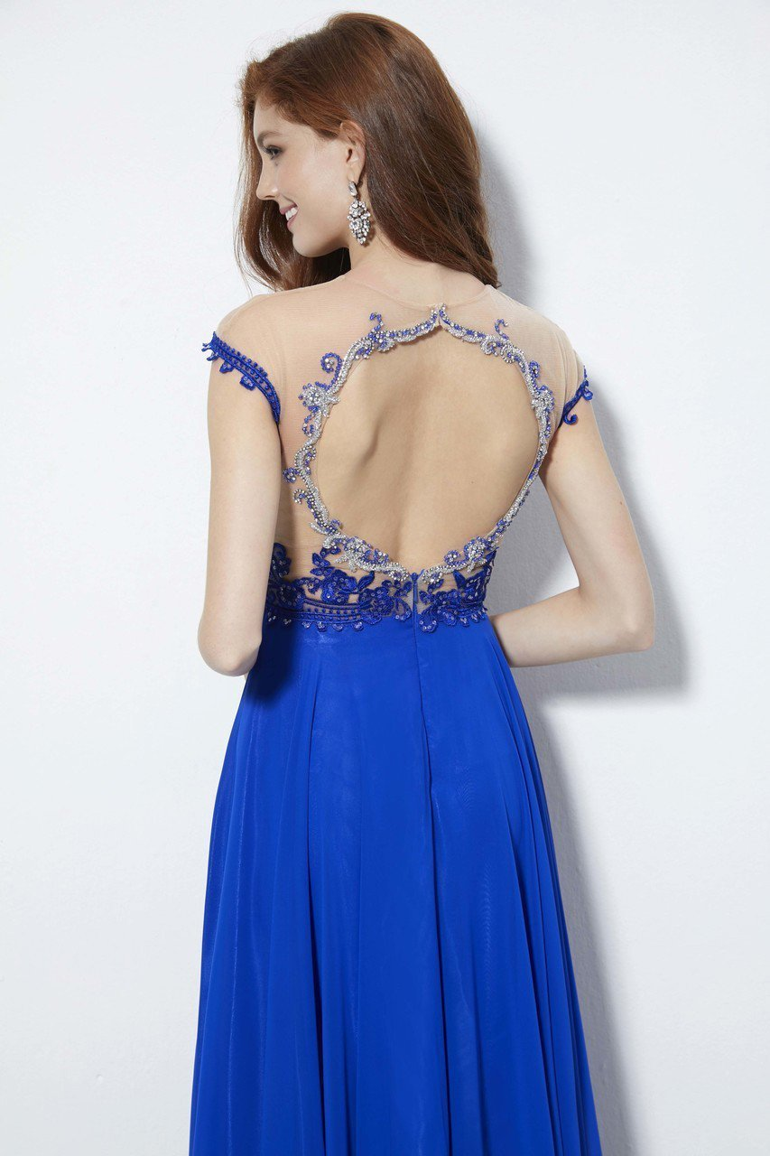 Angela and Alison - 81124 Bead Embroidered Illusion Jewel A-line Dress In Blue