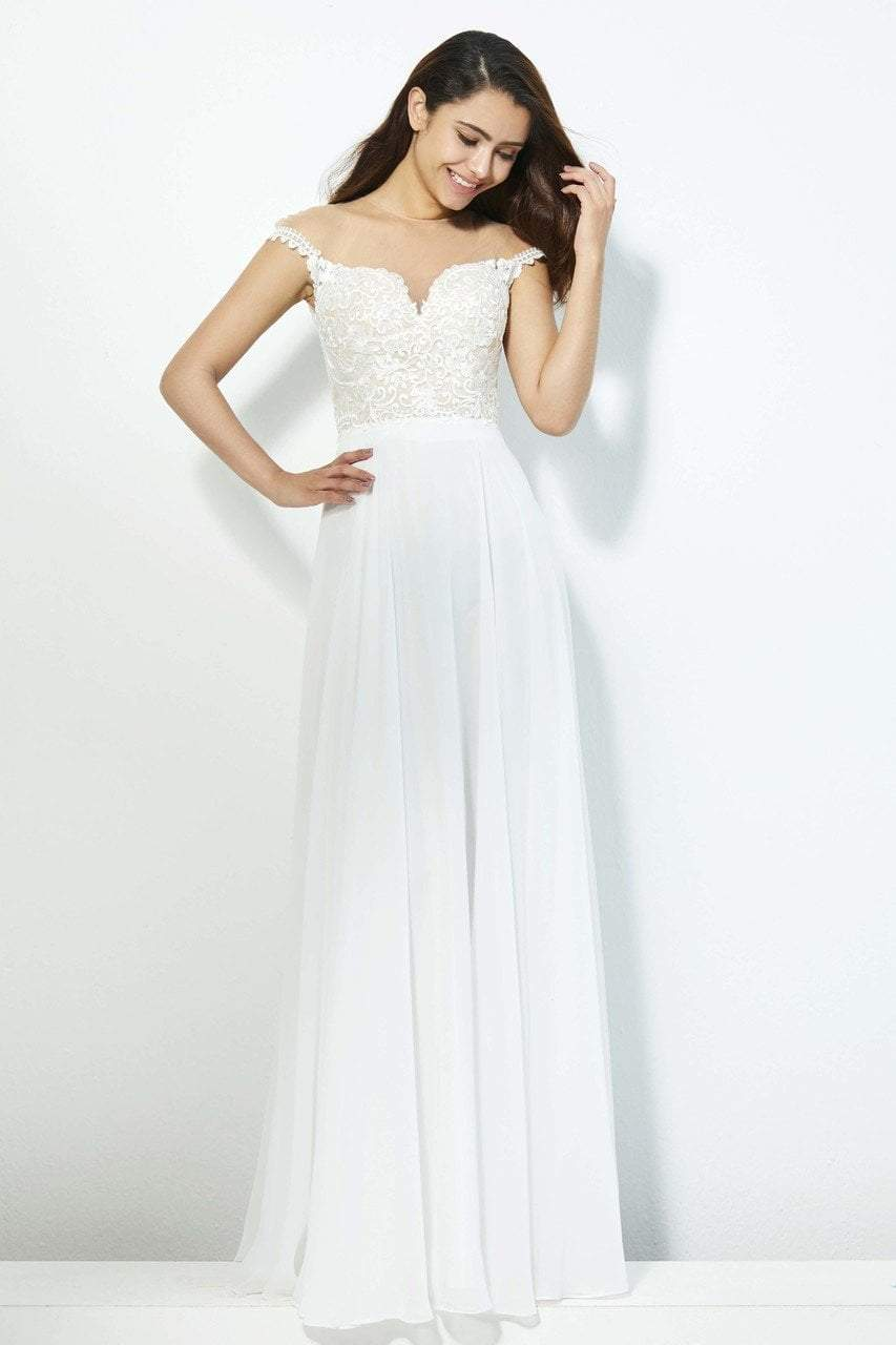 Angela and Alison - 81124 Bead Embroidered Illusion Jewel A-line Dress In White