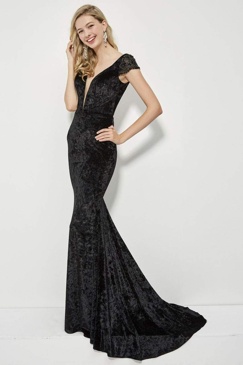 Angela and Alison - 81126 Deep V-neck Sheath Gown In Black