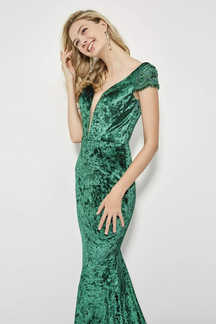 Angela and Alison - 81126 Deep V-neck Sheath Gown In Green