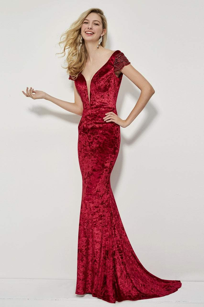 Angela and Alison - 81126 Deep V-neck Sheath Gown In Red