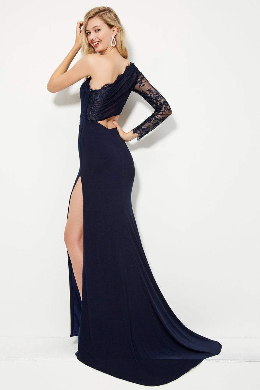 Angela and Alison - 81132 Single Lace Long Sleeve Fitted Gown In Blue