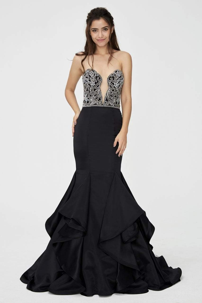 Angela and Alison - 81139 Beaded Strapless Ruffled Mermaid Gown In Black