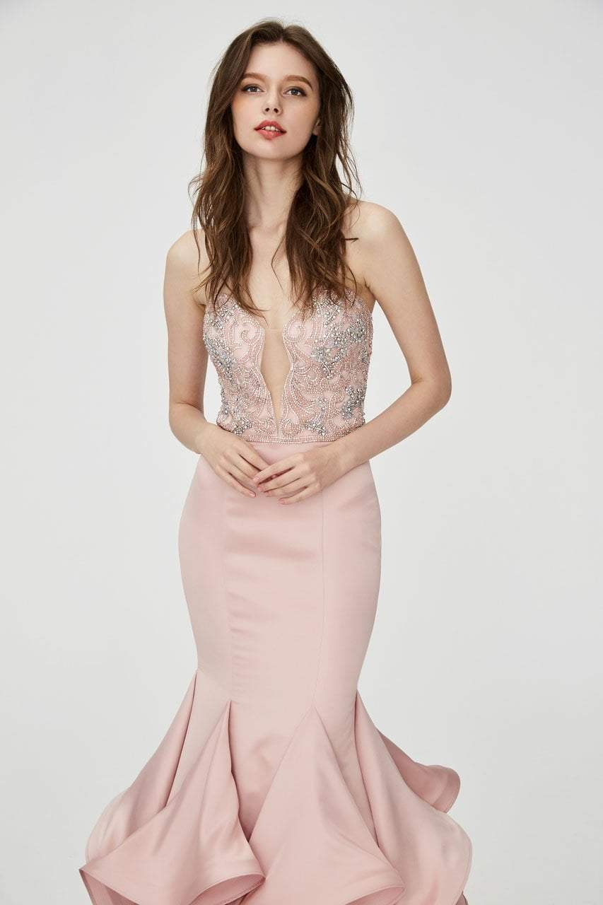 Angela and Alison - 81139 Beaded Strapless Ruffled Mermaid Gown In Pink