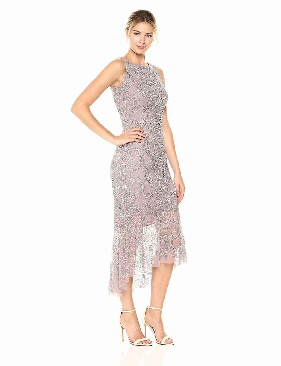 Aidan Mattox - MD1E201410 Beaded Bateau High Low Trumpet Dress in Gray