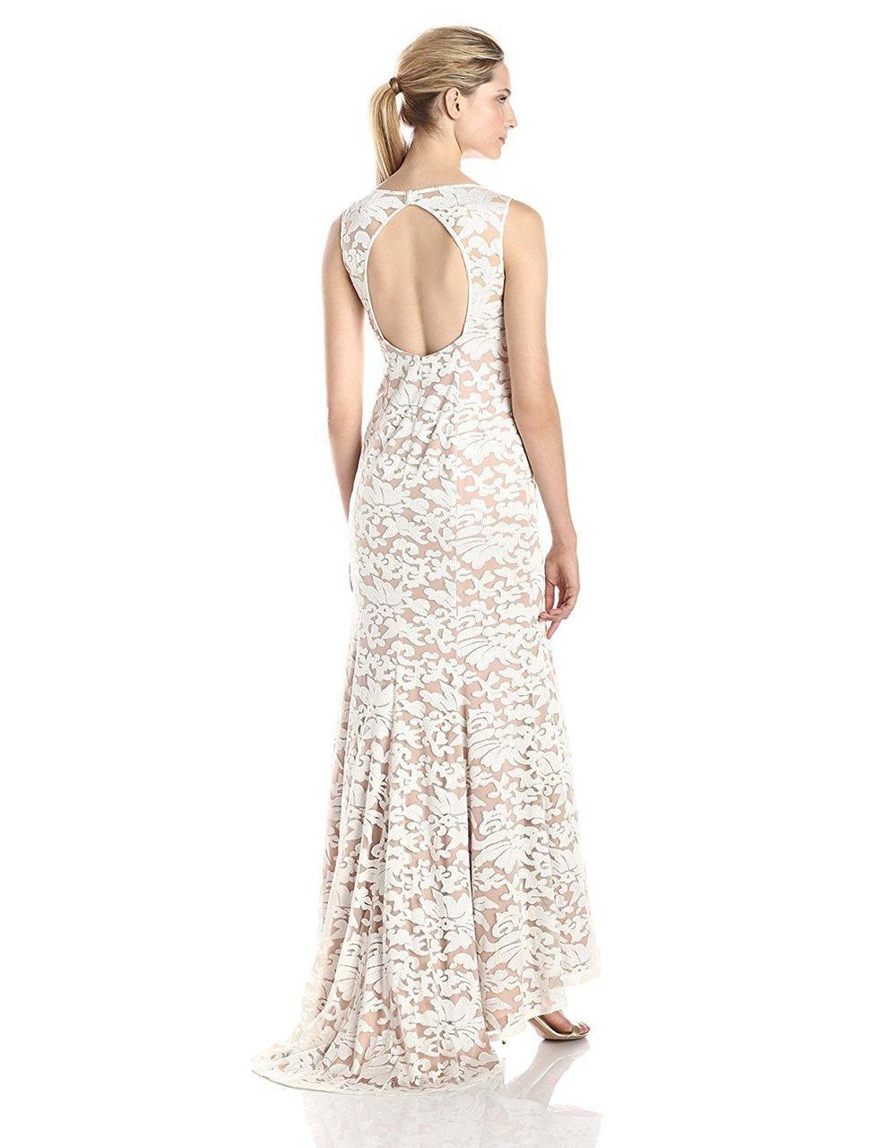 Adrianna Papell - 91906310 Embroidered Sleeveless Evening Gown in White and Neutral